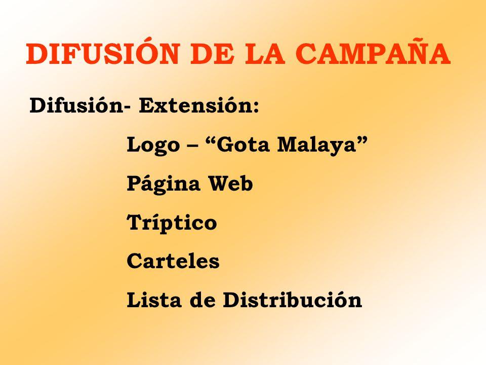 DIFUSIÓN DE LA CAMPAÑA Difusión- Extensión: Logo – Gota Malaya Página Web Tríptico Carteles Lista de Distribución