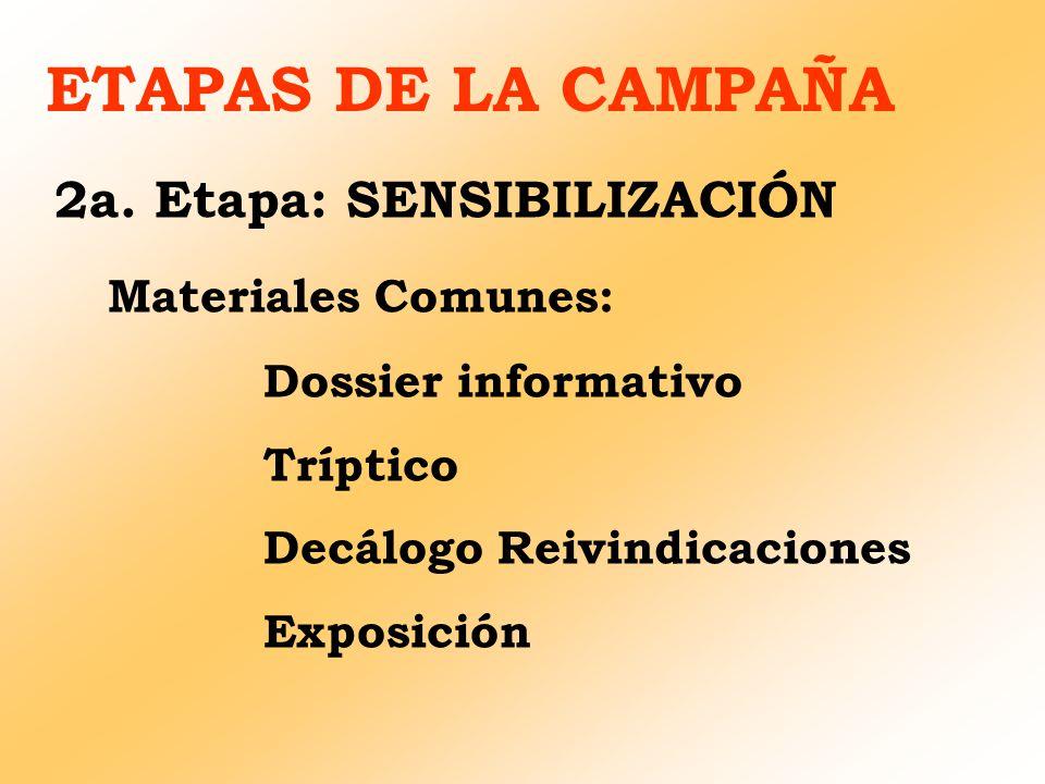 ETAPAS DE LA CAMPAÑA 2a. Etapa: SENSIBILIZACIÓN Materiales Comunes: Dossier informativo Tríptico Decálogo Reivindicaciones Exposición
