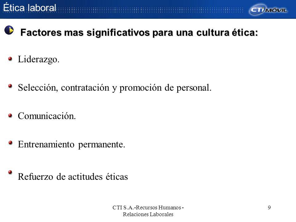 Ética laboral CTI S.A.-Recursos Humanos - Relaciones Laborales 9 Liderazgo. Selección, contratación y promoción de personal. Comunicación. Entrenamien