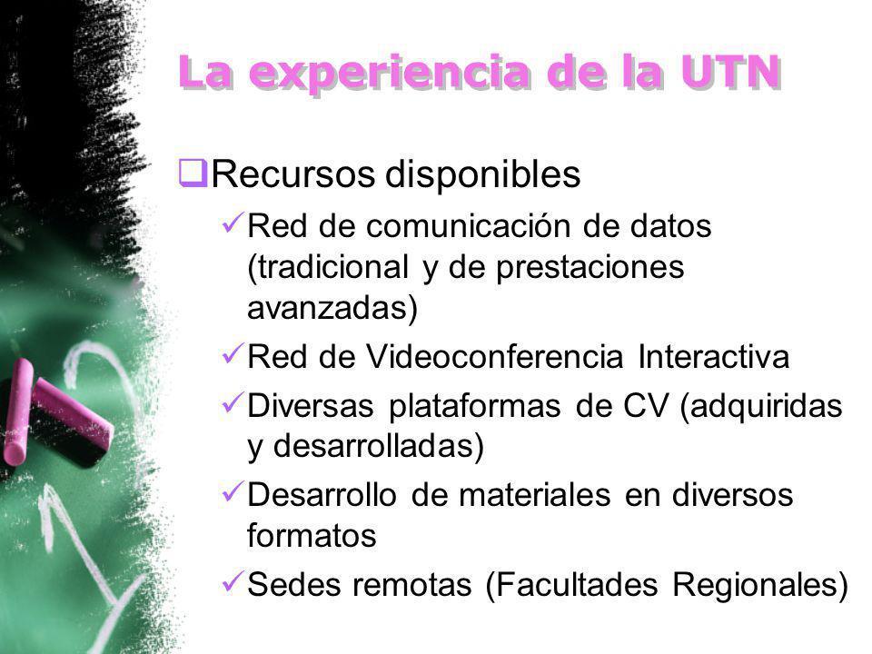 La experiencia de la UTN Recursos disponibles Red de comunicación de datos (tradicional y de prestaciones avanzadas) Red de Videoconferencia Interactiva Diversas plataformas de CV (adquiridas y desarrolladas) Desarrollo de materiales en diversos formatos Sedes remotas (Facultades Regionales)