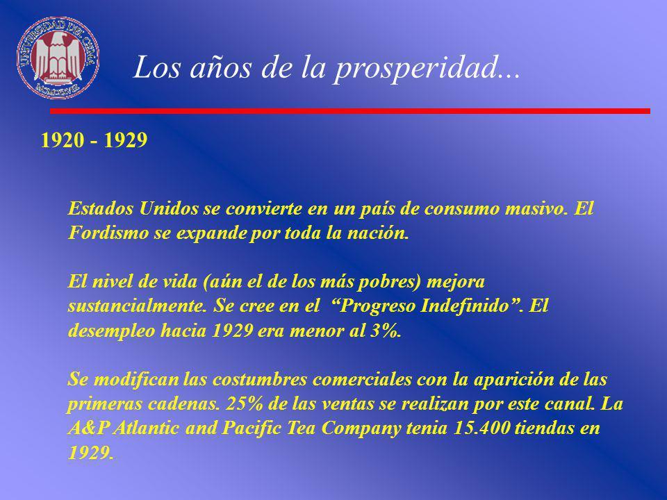 Los años de la prosperidad... 1920 - 1929 Estados Unidos se convierte en un país de consumo masivo. El Fordismo se expande por toda la nación. El nive