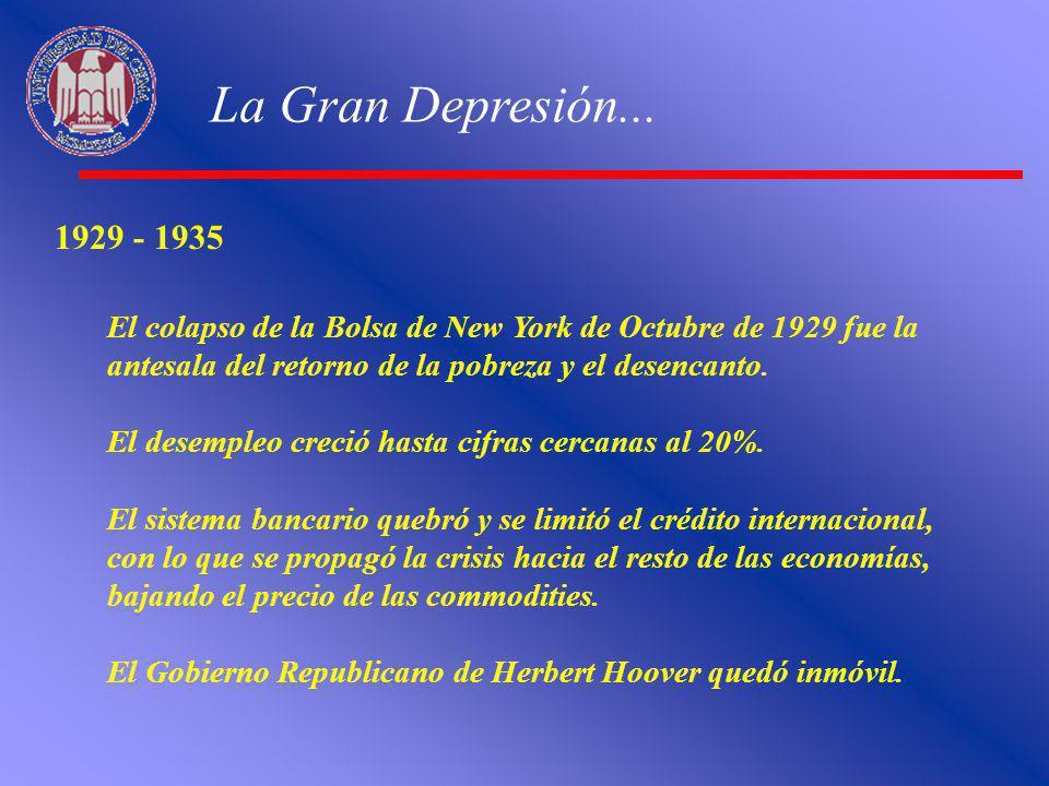 La Gran Depresión... 1929 - 1935 El colapso de la Bolsa de New York de Octubre de 1929 fue la antesala del retorno de la pobreza y el desencanto. El d