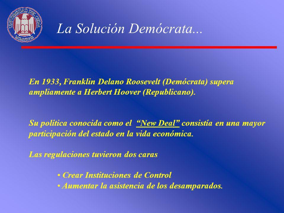 La Solución Demócrata... En 1933, Franklin Delano Roosevelt (Demócrata) supera ampliamente a Herbert Hoover (Republicano). Su política conocida como e