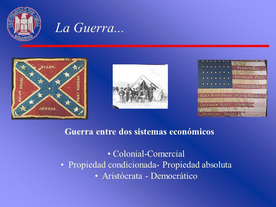 La Guerra... Guerra entre dos sistemas económicos Colonial-Comercial Propiedad condicionada- Propiedad absoluta Aristócrata - Democrático