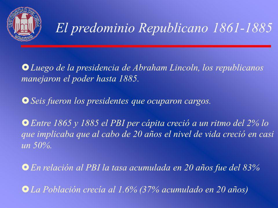 El predominio Republicano 1861-1885 Luego de la presidencia de Abraham Lincoln, los republicanos manejaron el poder hasta 1885. Seis fueron los presid