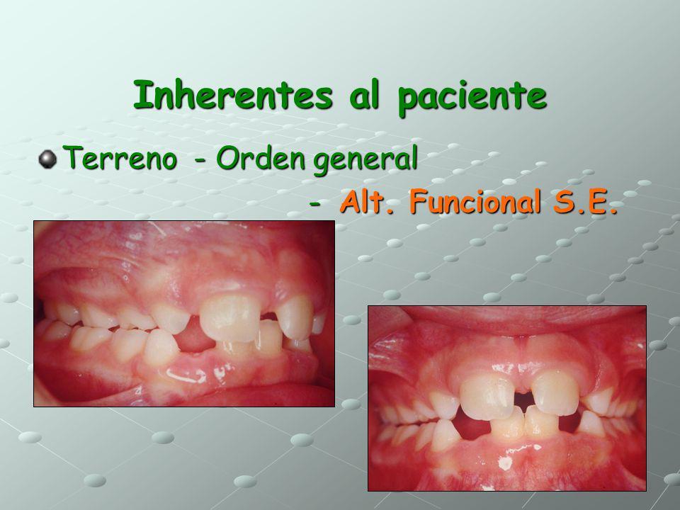 Inherentes al paciente Terreno - Orden general - Alt. Funcional S.E. - Alt. Funcional S.E.