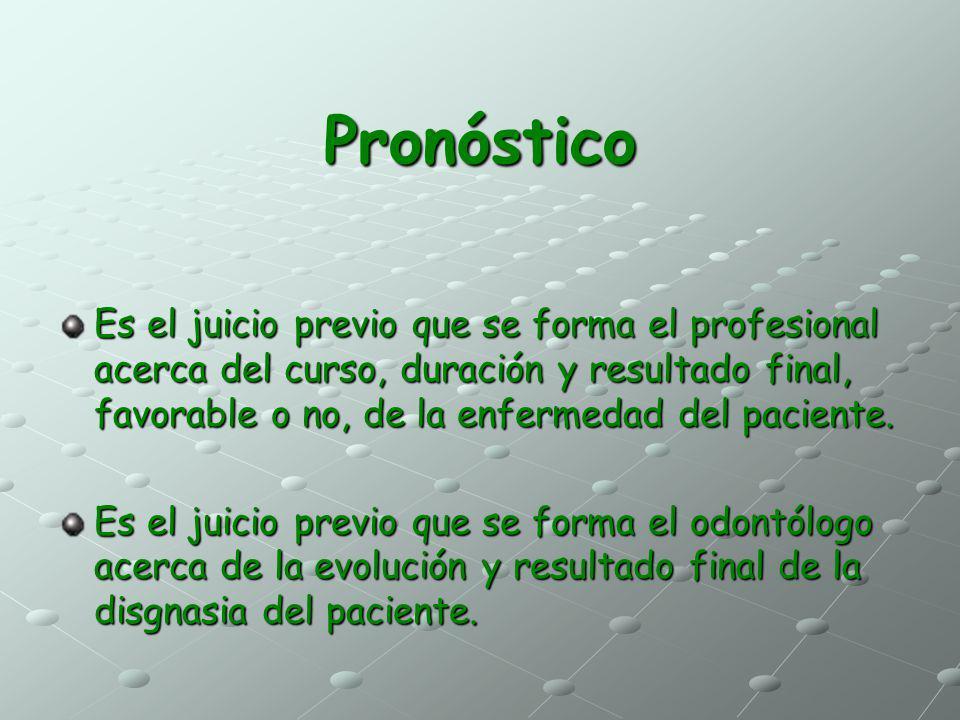 Pronóstico Es el juicio previo que se forma el profesional acerca del curso, duración y resultado final, favorable o no, de la enfermedad del paciente