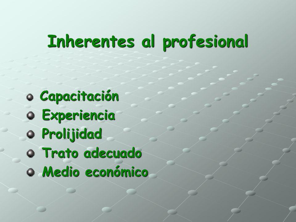 Inherentes al profesional Capacitación Capacitación Experiencia Experiencia Prolijidad Prolijidad Trato adecuado Trato adecuado Medio económico Medio