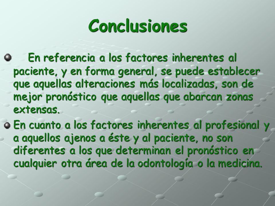 Conclusiones En referencia a los factores inherentes al paciente, y en forma general, se puede establecer que aquellas alteraciones más localizadas, s
