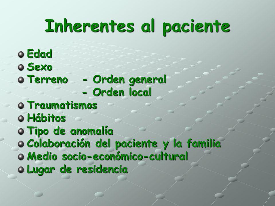 Inherentes al paciente EdadSexo Terreno - Orden general - Orden local - Orden localTraumatismosHábitos Tipo de anomalía Colaboración del paciente y la