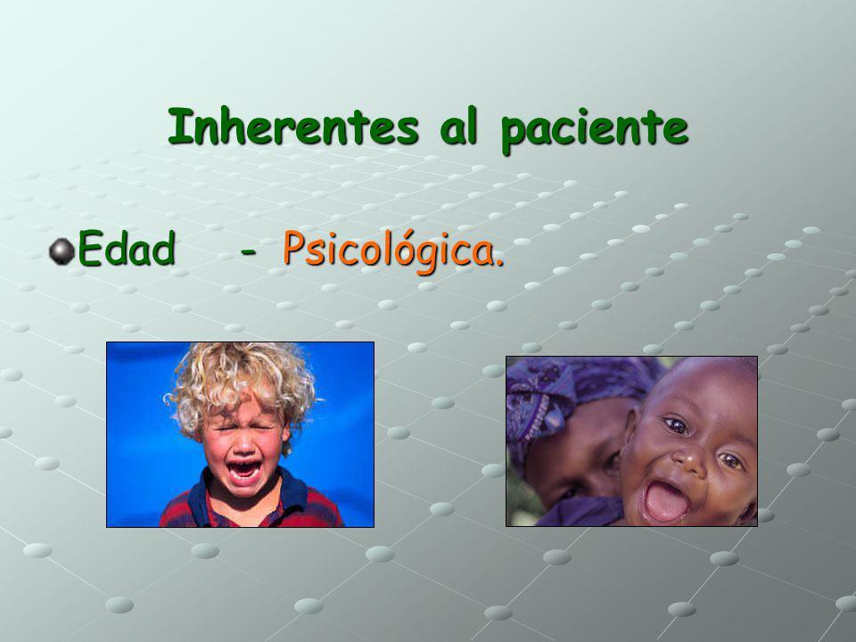 Inherentes al paciente Edad - Psicológica.