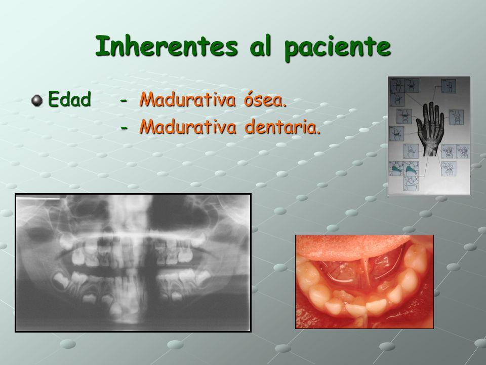 Inherentes al paciente Edad - Madurativa ósea. - Madurativa dentaria. - Madurativa dentaria.