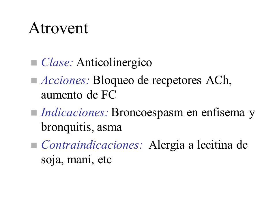 Atrovent n Clase: Anticolinergico n Acciones: Bloqueo de recpetores ACh, aumento de FC n Indicaciones: Broncoespasm en enfisema y bronquitis, asma n C