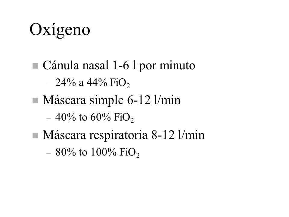 Oxígeno n Cánula nasal 1-6 l por minuto – 24% a 44% FiO 2 n Máscara simple 6-12 l/min – 40% to 60% FiO 2 n Máscara respiratoria 8-12 l/min – 80% to 10