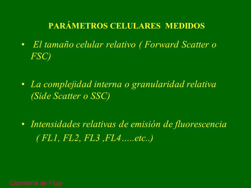 FORWARD SCATER – LUZ DIFRACTADA - SE RELACIONA CON LA SUPERFICIE Y AREA CELULARES -SE DETECTA EN EL EJE DE INCIDENCIA DEL LASER SIDE SCATER – LUZ REFLEJADA Y REFRACTADA -SE RELACIONA CON LA COMPLEJIDAD INTERNA DE LA CELULA Y SU GRANULARIDAD -SE DETECTA EN UN ANGULO DE 90 GRADOS CON EL HAZ DEL LASER Citometría de Flujo