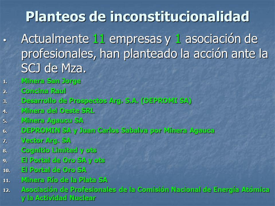 Planteos de inconstitucionalidad Actualmente 11 empresas y 1 asociación de profesionales, han planteado la acción ante la SCJ de Mza.