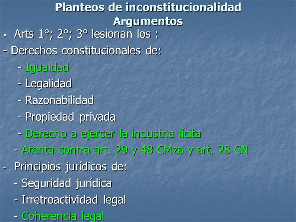 Planteos de inconstitucionalidad Argumentos Arts 1°; 2°; 3° lesionan los : Arts 1°; 2°; 3° lesionan los : - Derechos constitucionales de: - Igualdad -
