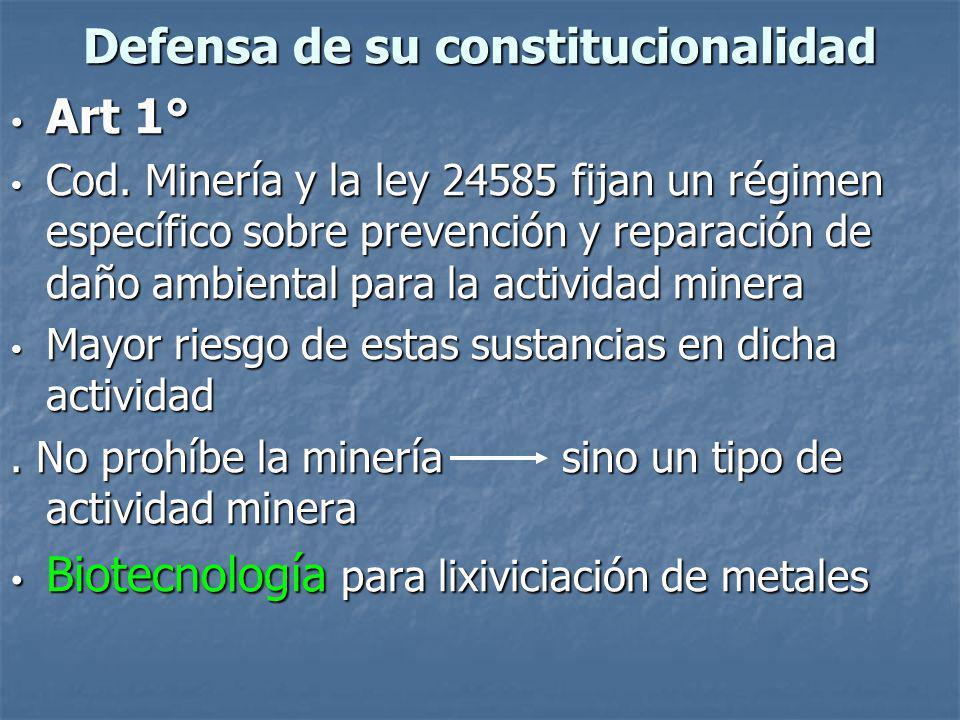 Defensa de su constitucionalidad Art 1° Art 1° Cod.