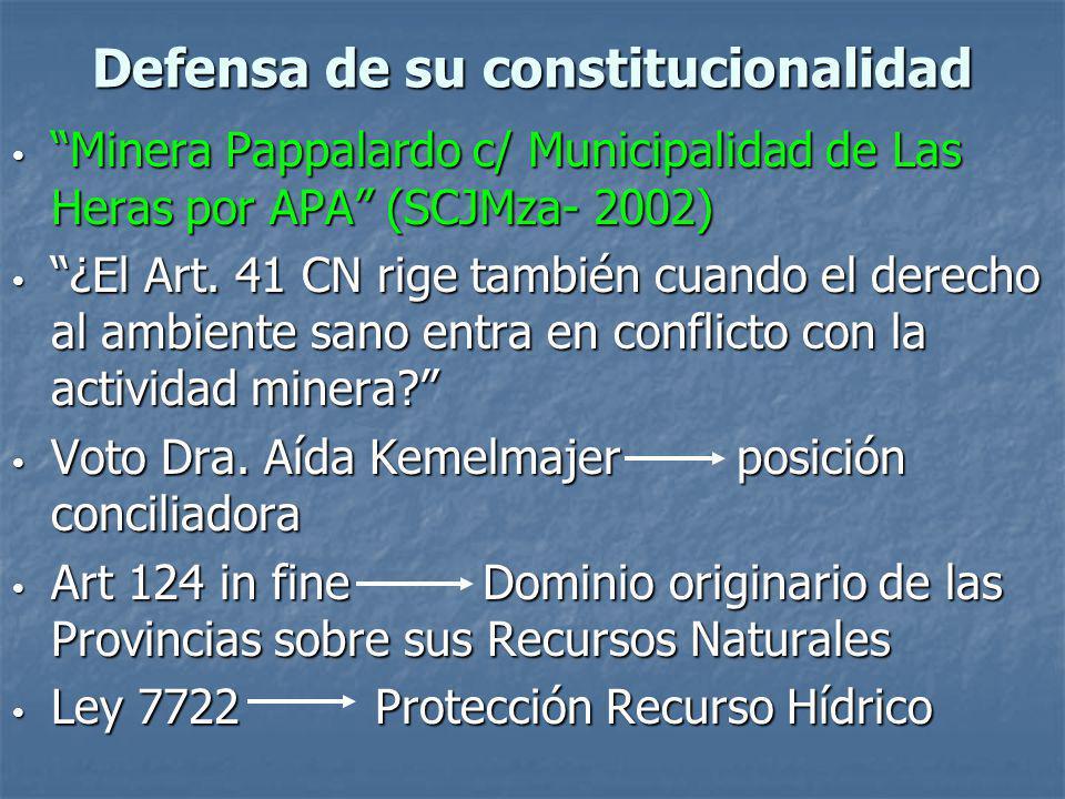 Defensa de su constitucionalidad Minera Pappalardo c/ Municipalidad de Las Heras por APA (SCJMza- 2002) Minera Pappalardo c/ Municipalidad de Las Heras por APA (SCJMza- 2002) ¿El Art.