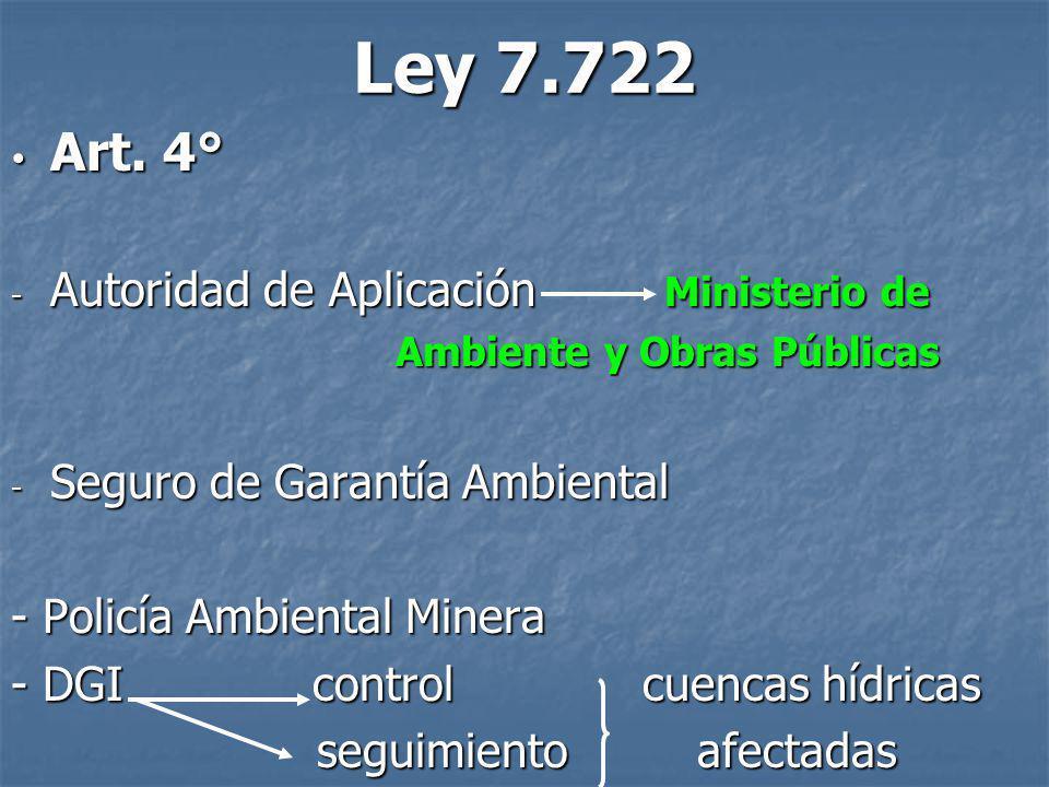 Ley 7.722 Art. 4° Art. 4° - Autoridad de Aplicación Ministerio de Ambiente y Obras Públicas Ambiente y Obras Públicas - Seguro de Garantía Ambiental -