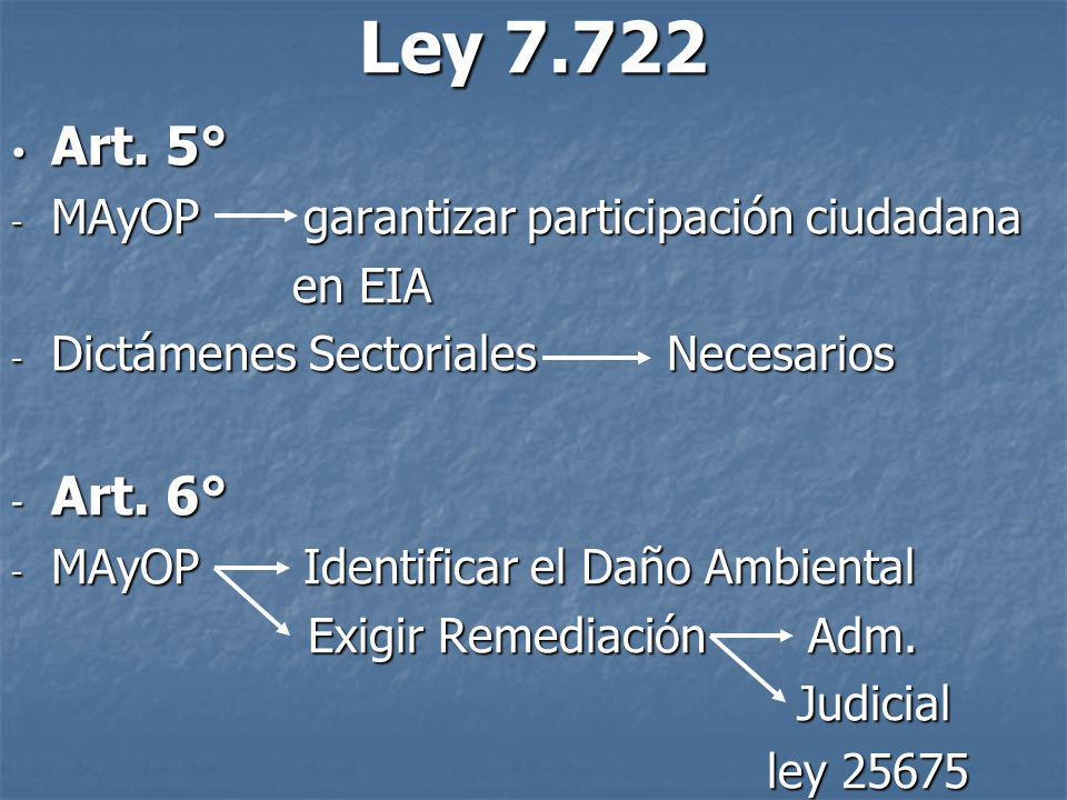 Ley 7.722 Art. 5° Art. 5° - MAyOP garantizar participación ciudadana en EIA en EIA - Dictámenes Sectoriales Necesarios - Art. 6° - MAyOP Identificar e