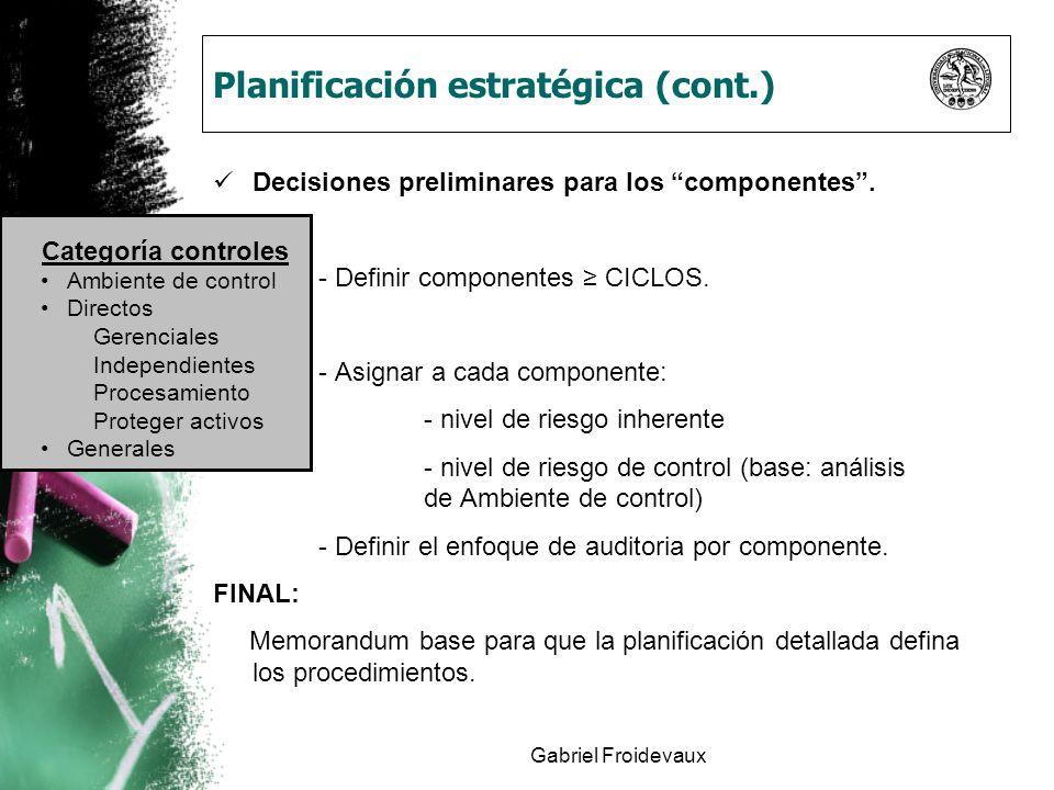 Gabriel Froidevaux Planificación estratégica (cont.) Decisiones preliminares para los componentes. - Definir componentes CICLOS. - Asignar a cada comp