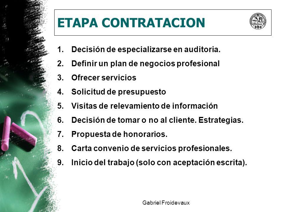 Gabriel Froidevaux ETAPA CONTRATACION 1.Decisión de especializarse en auditoria. 2.Definir un plan de negocios profesional 3.Ofrecer servicios 4.Solic