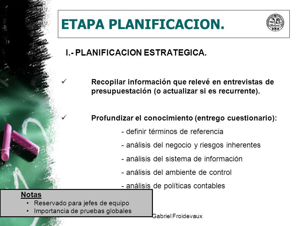 Gabriel Froidevaux ETAPA PLANIFICACION. I.- PLANIFICACION ESTRATEGICA. Recopilar información que relevé en entrevistas de presupuestación (o actualiza