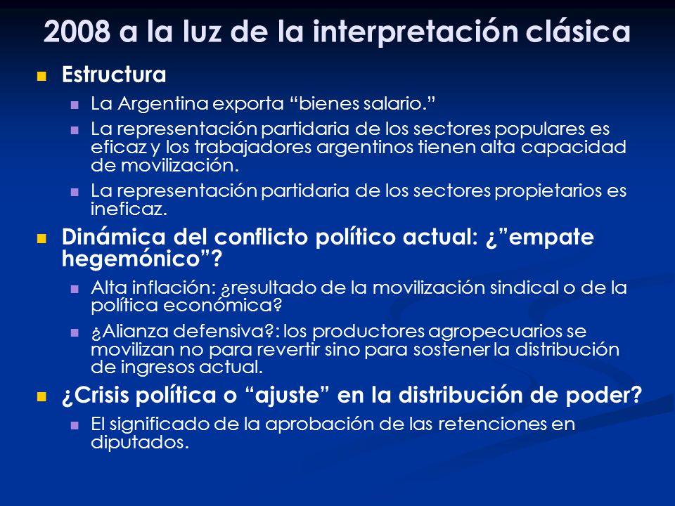 2008 a la luz de la interpretación clásica Estructura La Argentina exporta bienes salario. La representación partidaria de los sectores populares es e