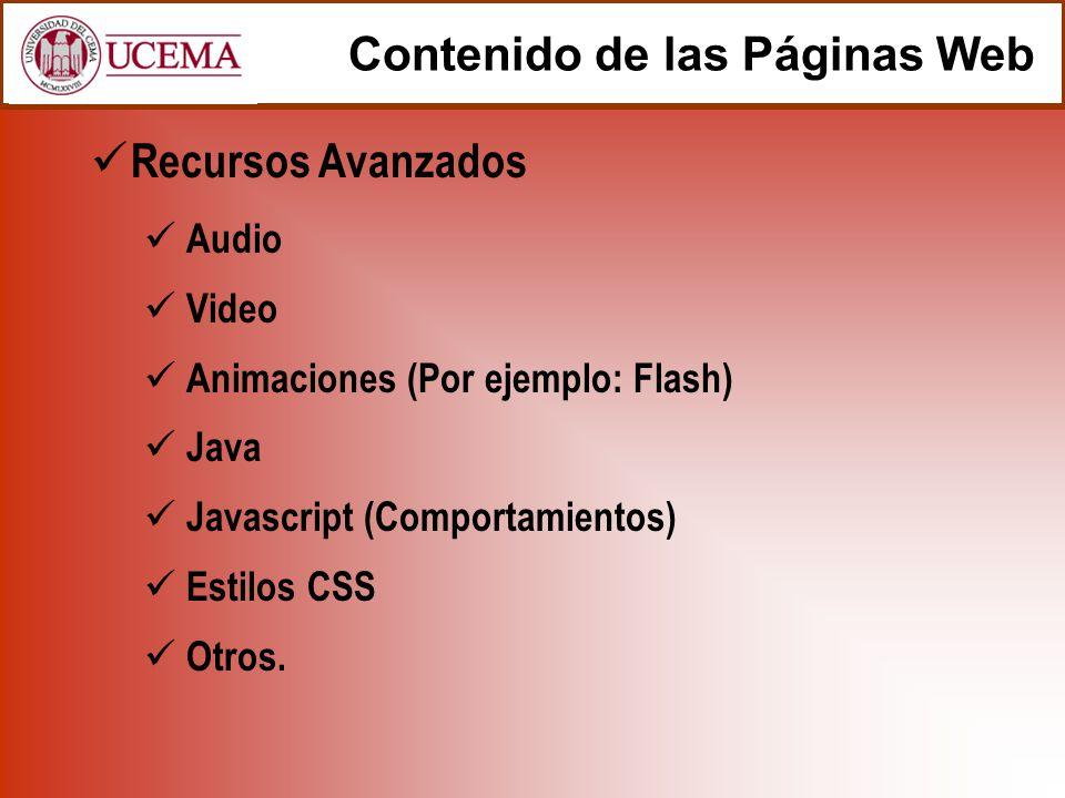 Contenido de las Páginas Web Recursos Avanzados Audio Video Animaciones (Por ejemplo: Flash) Java Javascript (Comportamientos) Estilos CSS Otros.