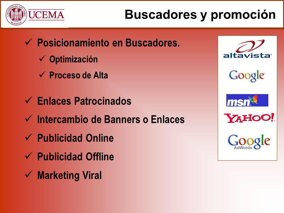 Buscadores y promoción Posicionamiento en Buscadores. Optimización Proceso de Alta Enlaces Patrocinados Intercambio de Banners o Enlaces Publicidad On