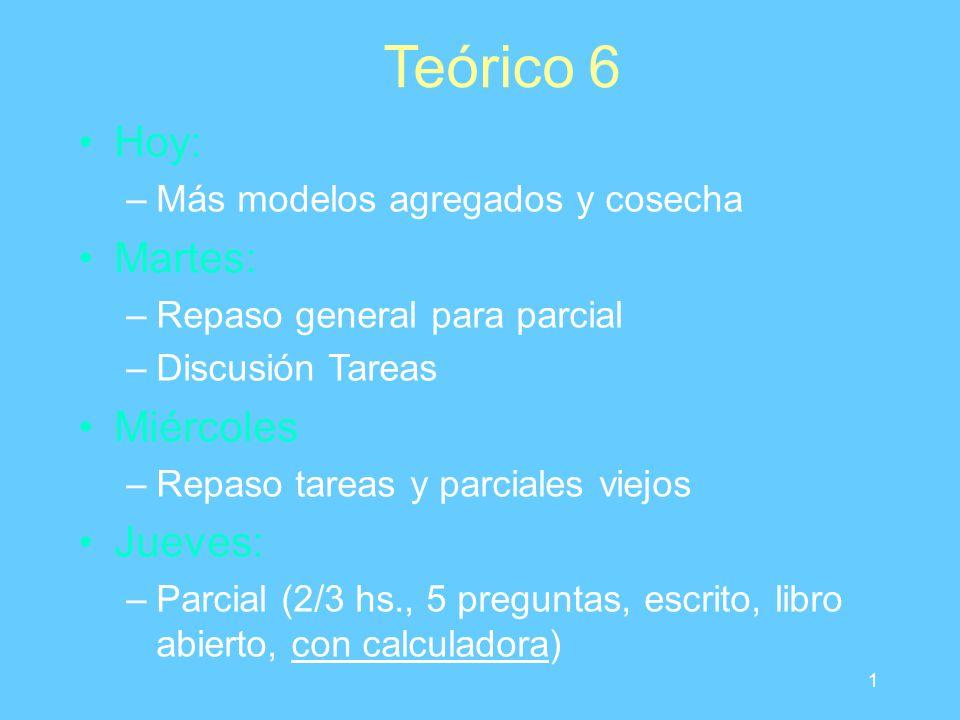 1 Teórico 6 Hoy: –Más modelos agregados y cosecha Martes: –Repaso general para parcial –Discusión Tareas Miércoles –Repaso tareas y parciales viejos J