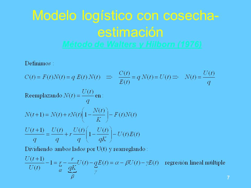 7 Modelo logístico con cosecha- estimación Método de Walters y Hilborn (1976)