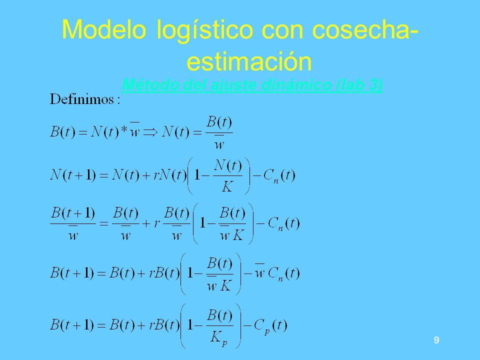 9 Modelo logístico con cosecha- estimación Método del ajuste dinámico (lab 3)