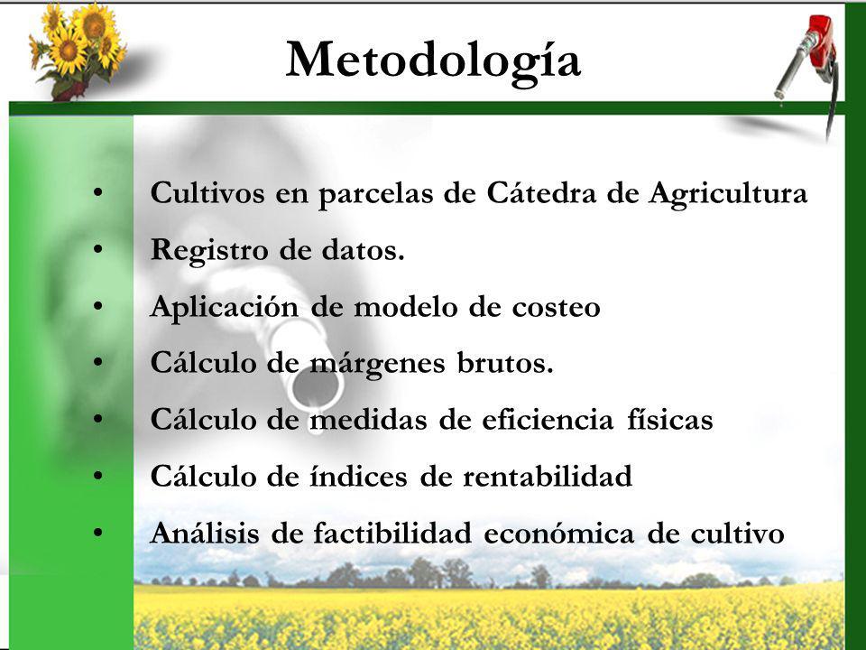 Metodología Cultivos en parcelas de Cátedra de Agricultura Registro de datos. Aplicación de modelo de costeo Cálculo de márgenes brutos. Cálculo de me