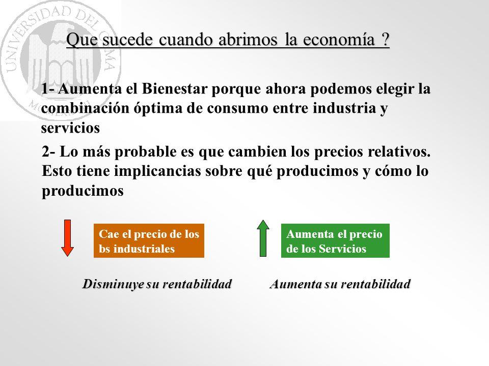 Que sucede cuando abrimos la economía ? 1- Aumenta el Bienestar porque ahora podemos elegir la combinación óptima de consumo entre industria y servici