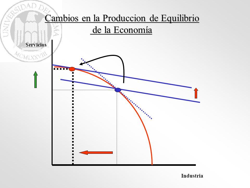 Cambios en la Produccion de Equilibrio de la Economía de la Economía Industria Servicios