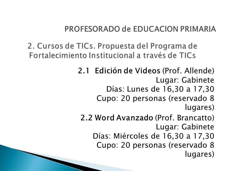 2.1 Edición de Videos (Prof.