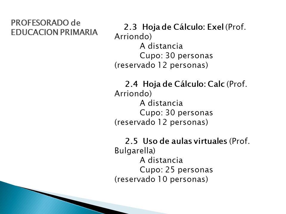 2.3 Hoja de Cálculo: Exel (Prof.