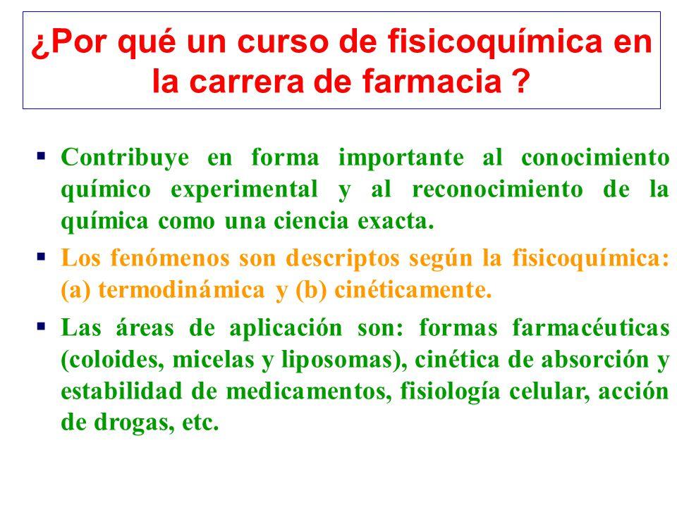 ¿Por qué un curso de fisicoquímica en la carrera de farmacia ? Contribuye en forma importante al conocimiento químico experimental y al reconocimiento