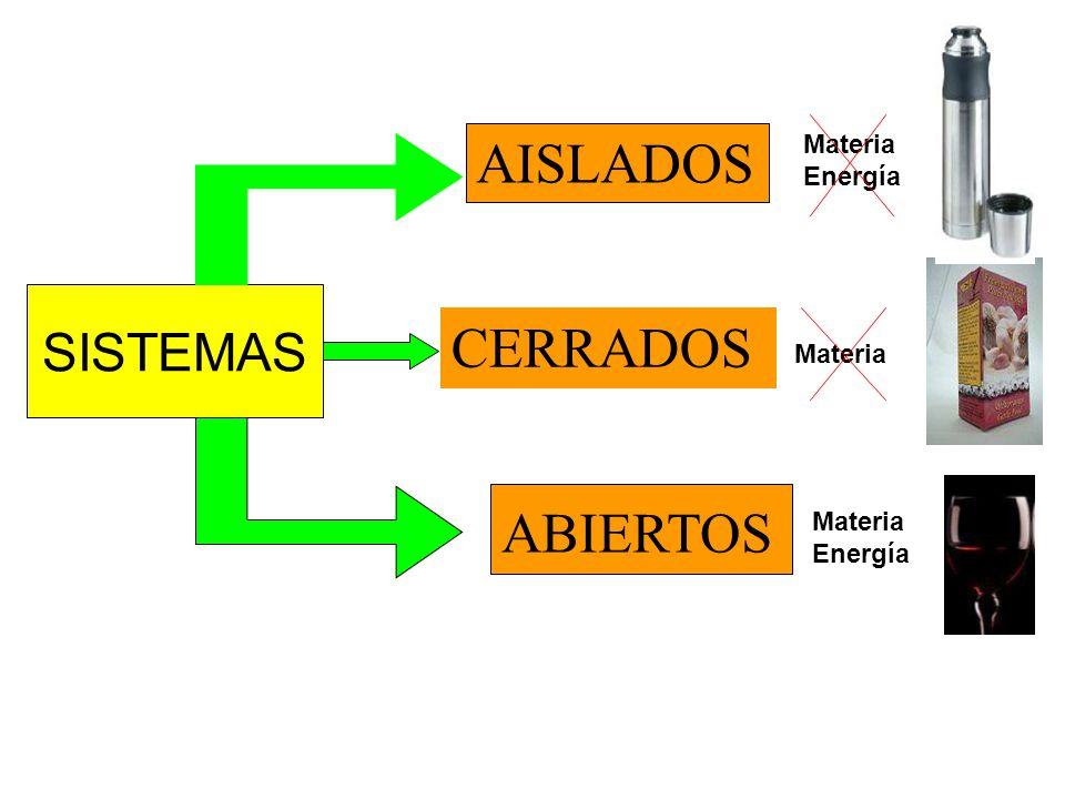 S A El sistema y los alrededores pueden interaccionar el uno con el otro, a través de los LIMITES Rígida Móvil Adiabática Diatérmicas Permeable Impermeable Semipermeable