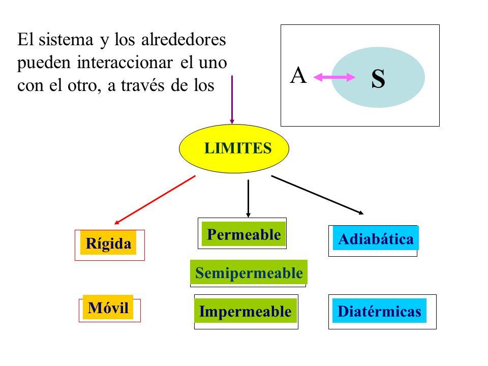 S A El sistema y los alrededores pueden interaccionar el uno con el otro, a través de los LIMITES Rígida Móvil Adiabática Diatérmicas Permeable Imperm