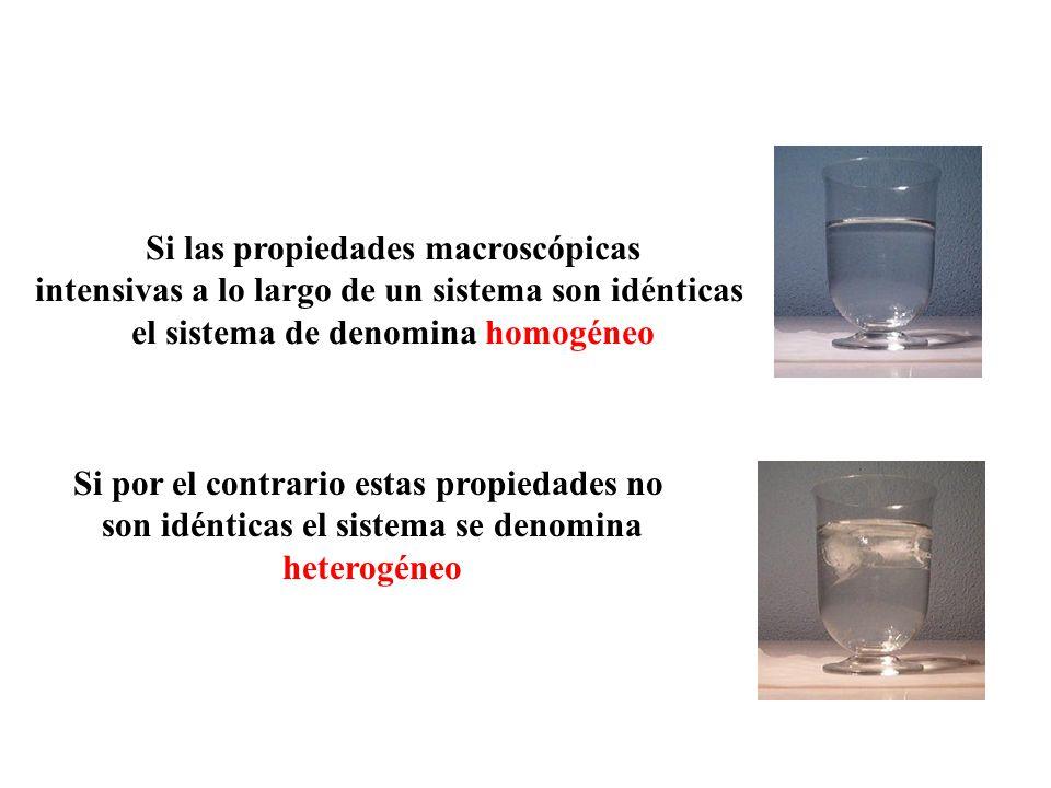 Si las propiedades macroscópicas intensivas a lo largo de un sistema son idénticas el sistema de denomina homogéneo Si por el contrario estas propieda