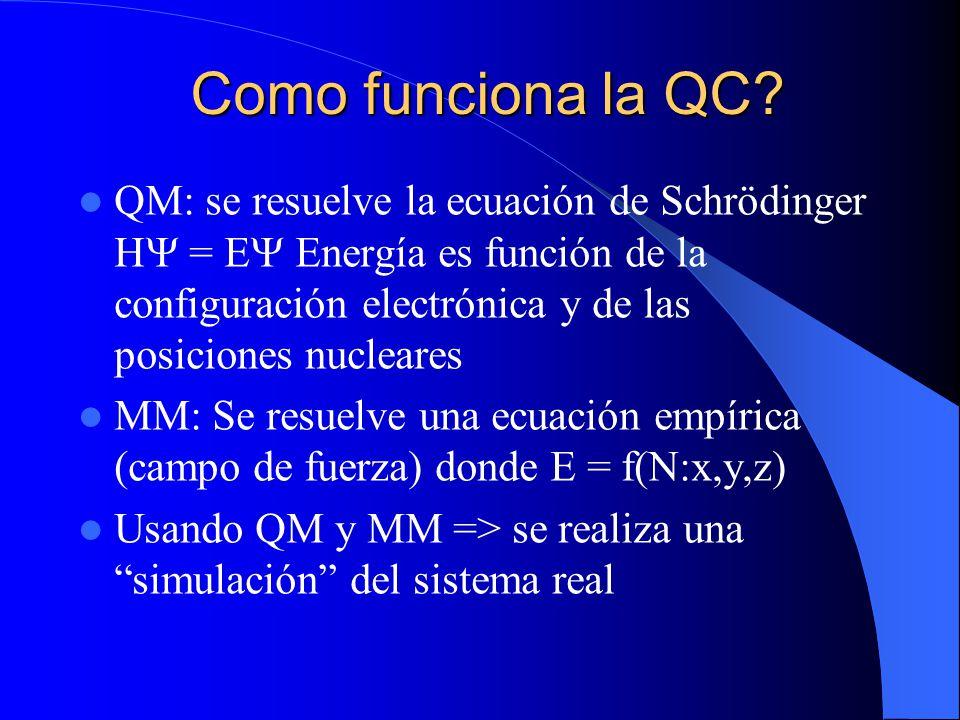 Como funciona la QC? QM: se resuelve la ecuación de Schrödinger H = E Energía es función de la configuración electrónica y de las posiciones nucleares