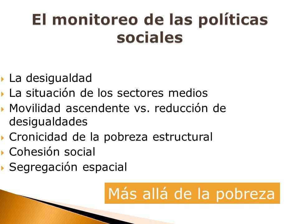 La desigualdad La situación de los sectores medios Movilidad ascendente vs. reducción de desigualdades Cronicidad de la pobreza estructural Cohesión s