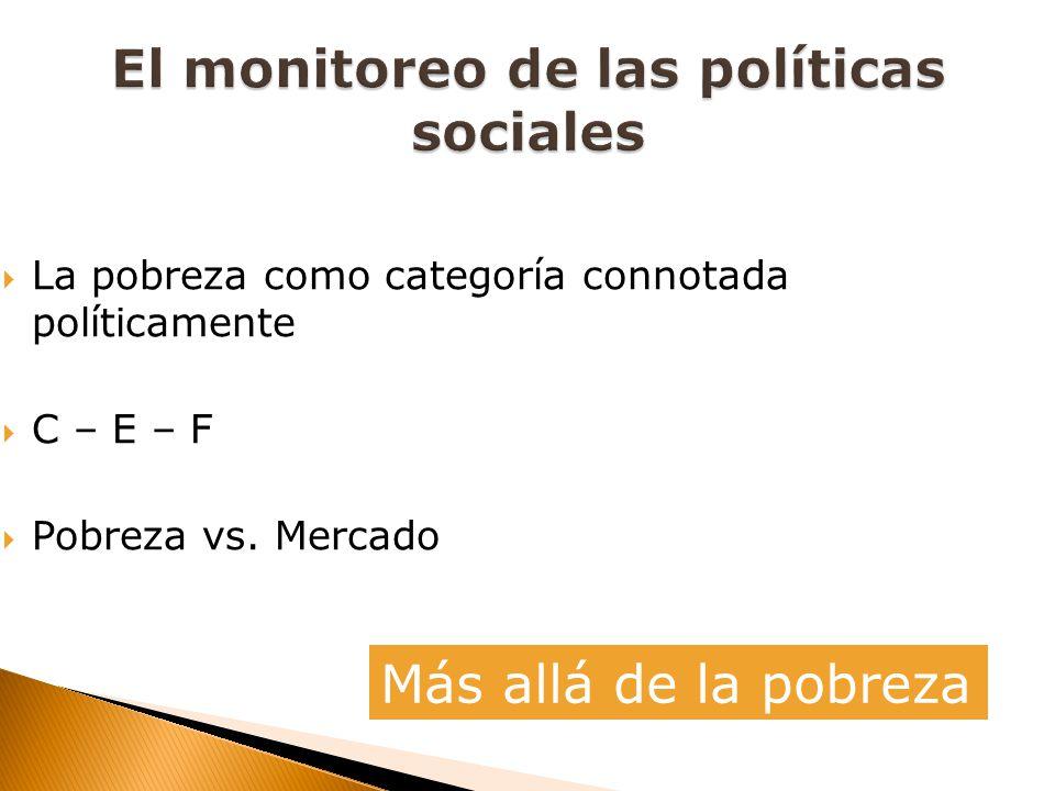 La pobreza como categoría connotada políticamente C – E – F Pobreza vs. Mercado Más allá de la pobreza