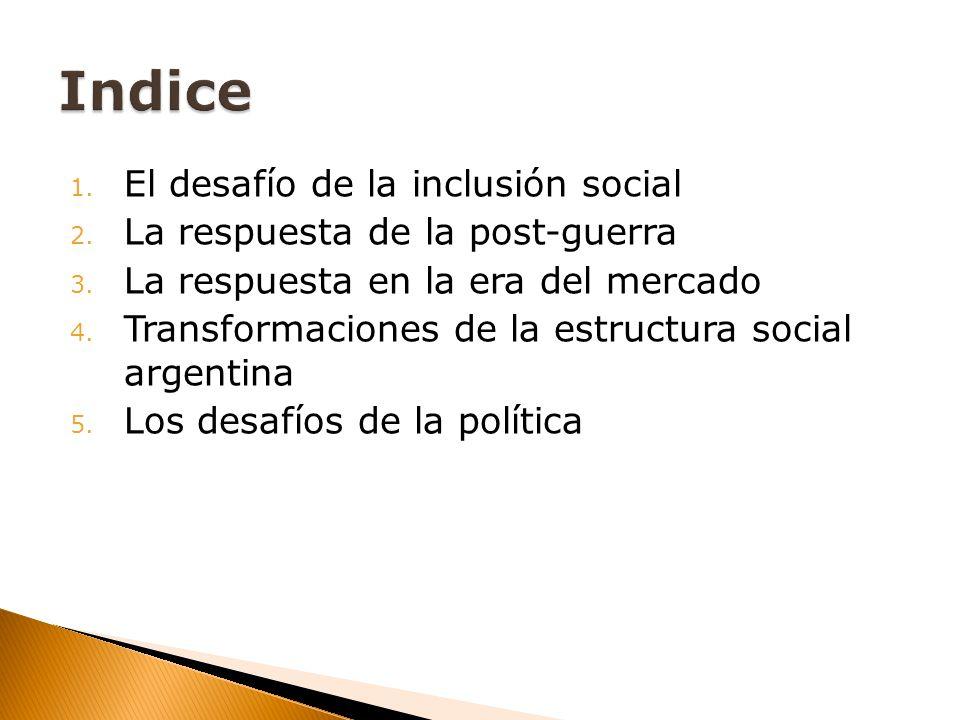 1. El desafío de la inclusión social 2. La respuesta de la post-guerra 3. La respuesta en la era del mercado 4. Transformaciones de la estructura soci