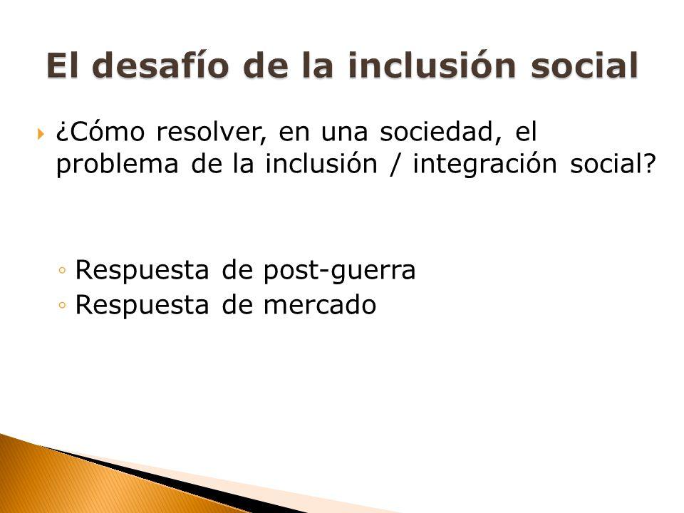 ¿Cómo resolver, en una sociedad, el problema de la inclusión / integración social? Respuesta de post-guerra Respuesta de mercado