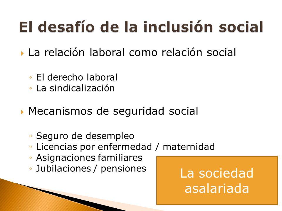 La relación laboral como relación social El derecho laboral La sindicalización Mecanismos de seguridad social Seguro de desempleo Licencias por enferm