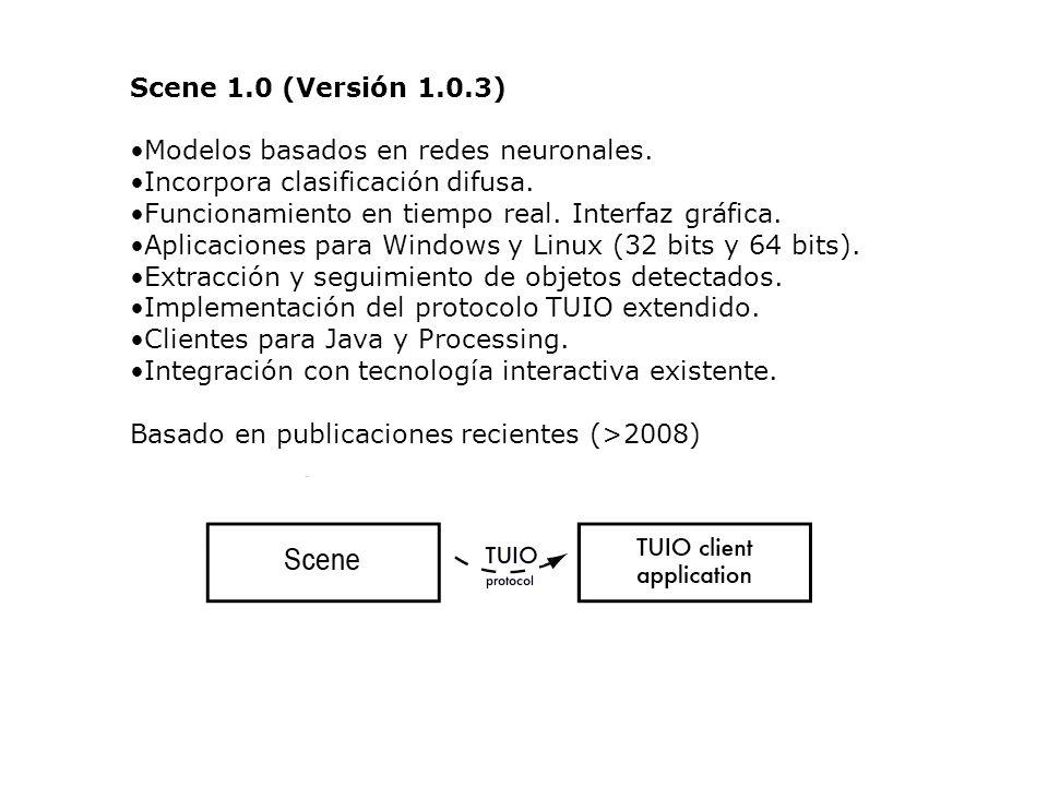 Scene 1.0 (Versión 1.0.3) Modelos basados en redes neuronales. Incorpora clasificación difusa. Funcionamiento en tiempo real. Interfaz gráfica. Aplica